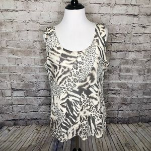 Easywear By Chico's Animal Print Double Layer Tank